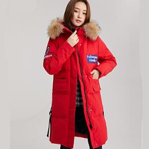 yaloo/雅鹿羽绒服女2019新款冬保暖鸭绒中长款过膝韩版学生外套M