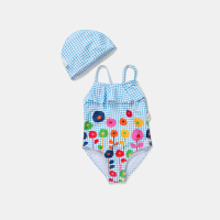 【2件3.8折】迷你巴拉巴拉儿童泳装女童泳衣2019夏季新款泳装女孩连体泳衣泳帽