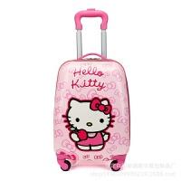 儿童拉杆箱13寸16寸18寸男女卡通旅行箱儿童拉杆书包闪光轮 kt猫