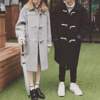 男士风衣2018新款毛呢男女韩版宽松中长款外套潮流呢子大衣情侣装