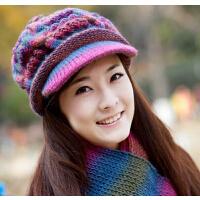 保暖冬季帽子 女 韩版潮羊毛帽针织帽两件套鸭舌贝雷帽 毛线帽围巾