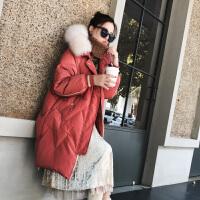 羽绒服女冬2018中长款韩版小个子白鸭绒大毛领修身气质潮 红色 图片红