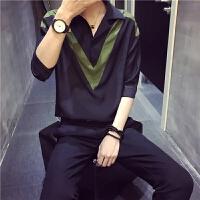 男士衬衣短袖夏季宽松帅气韩版休闲潮流薄款套头个性五分袖男衬衫