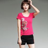 中国风女装上衣 夏季新款 民族风绣花短袖圆领修身棉T恤女刺绣衫