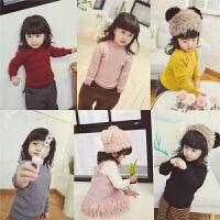 女童半高领厚毛衣 儿童加绒加厚打底毛衣宝宝保暖上衣秋冬
