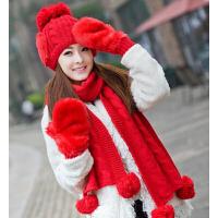 圣诞生日礼物 韩版冬天可爱保暖女士毛线帽子围巾手套三件套装一体