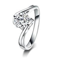 金一 白18K金爱无界钻戒结婚求婚钻石戒指女款婚戒夹镶钻石女戒 送女友礼物 需定制