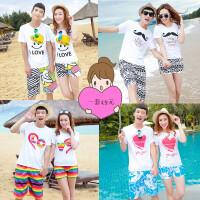 沙滩情侣装夏装2018海边度假蜜月海滩夏季男女短袖T恤沙滩裤套装