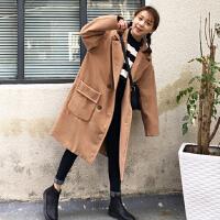 冬季女装韩版显瘦中长款双面呢子大衣宽松口袋西装领毛呢外套学生