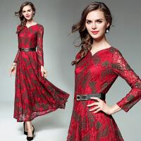 欧洲站 16秋冬装女装新款公主洋装小礼服蕾丝长裙加大码连衣裙