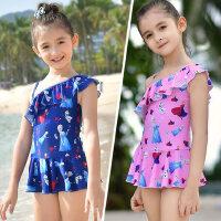 迪士尼儿童泳衣6女童连体速干卡通冰雪奇缘8女孩宝宝半袖游泳衣12