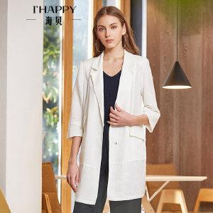海贝2018春季新款女装 OL气质西装领长袖纯色亚麻中长款西装外套