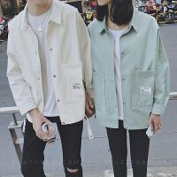 情侣外套秋季韩版休闲大口袋薄款夹克男女学生修身长袖潮上衣