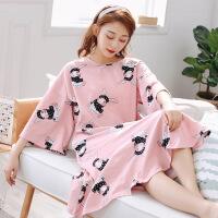 韩版卡通纯棉睡衣女春秋夏季胖mm200斤孕妇加肥大码宽松长款睡裙 粉红色 模特款七分袖