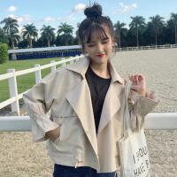 春装新款女装韩版翻领荷叶袖百搭宽松显瘦短款风衣外套潮学生上衣