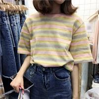 韩国学院风减龄宽松显瘦文艺套头简约休闲短袖拼色t恤Z
