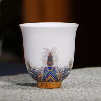 品茗杯茶杯陶瓷功夫茶具手绘粉彩主人杯青瓷小单杯家用茶盏