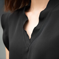 女装2018夏季新款荷叶边V领无袖衬衫休闲纯色上衣女