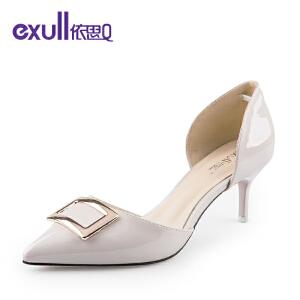 依思q秋季新款单鞋后包跟尖头中空细跟女鞋-