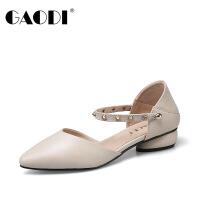 高蒂女鞋2018新款尖头玛丽珍鞋牛皮粗低跟一字扣带时尚铆钉中空女鞋