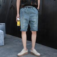 2019夏季牛仔裤男士宽松嘻哈五分裤薄款大码哈伦裤松紧小脚工装短裤男
