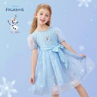 迪士尼女童短袖连衣裙儿童夏季网纱裙宝宝公主裙2021新款洋气童装