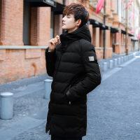 冬季中长款连帽男士修身棉衣外套韩版潮流男装学生帅气棉袄子