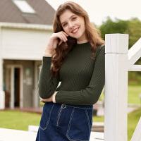 冬装新品 双层半高领修身针织衫100%纯羊毛衫D746268M00