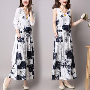 安妮纯棉麻连衣裙两件套装女装2020夏装新款中长款套装亚麻气质裙子韩版潮