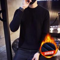毛衣男韩版男士圆领针织衫冬季加绒加厚2018秋季新款高领毛线衣潮 加绒