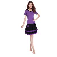 广场舞服装套短袖裙装双层裙跳操服拉丁舞演出服