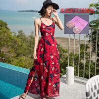 沙滩裙波西米亚大吊带露背碎花雪纺连衣裙性感度假长裙沙滩裙 酒红色