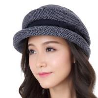 卷边羊毛礼帽女冬季优雅格仔休闲渔夫女款时装帽 贝雷帽