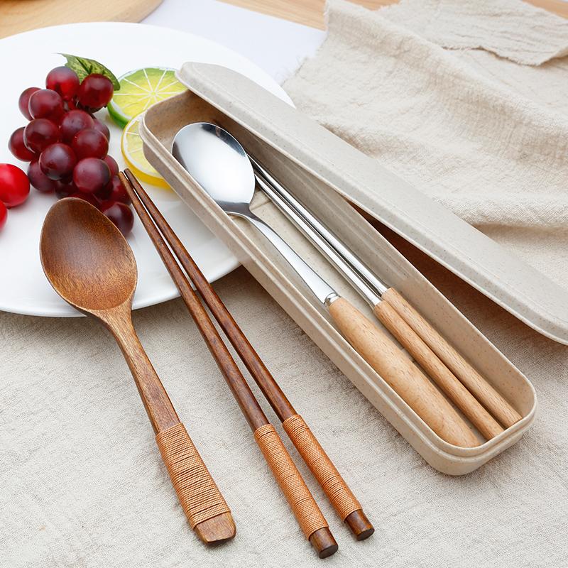 木质筷子勺子套装日式学生旅行便携餐具三件套木勺定制刻字