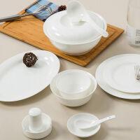 【当当自营】SKYTOP斯凯绨 碗盘碟碗筷陶瓷骨瓷餐具套装 46头白瓷