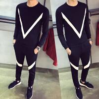 新款秋季男士运动休闲套装小码精神小伙社会韩版紧身长袖卫衣一套