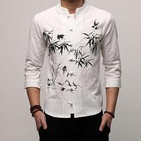 中国风男装中式棉麻短袖衬衫印花盘扣七分袖衬衣修身复古唐装汉服