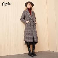 【满300减30】格子羊毛大衣女冬季新款韩版宽松西装领外衣过膝中长呢子
