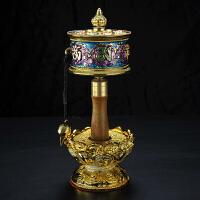 藏传佛教用品镀金彩绘八吉祥六字真言手摇转经轮20cm紫蓝促销