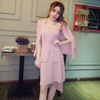 韩版甜美小香风时尚性感吊带针织扭扭上衣+开衫+压褶短裙套装潮女