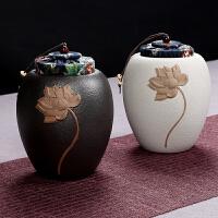 功夫茶具套装泡茶办公室茶艺茶道陶瓷粗陶茶叶罐家用喝茶创意简约