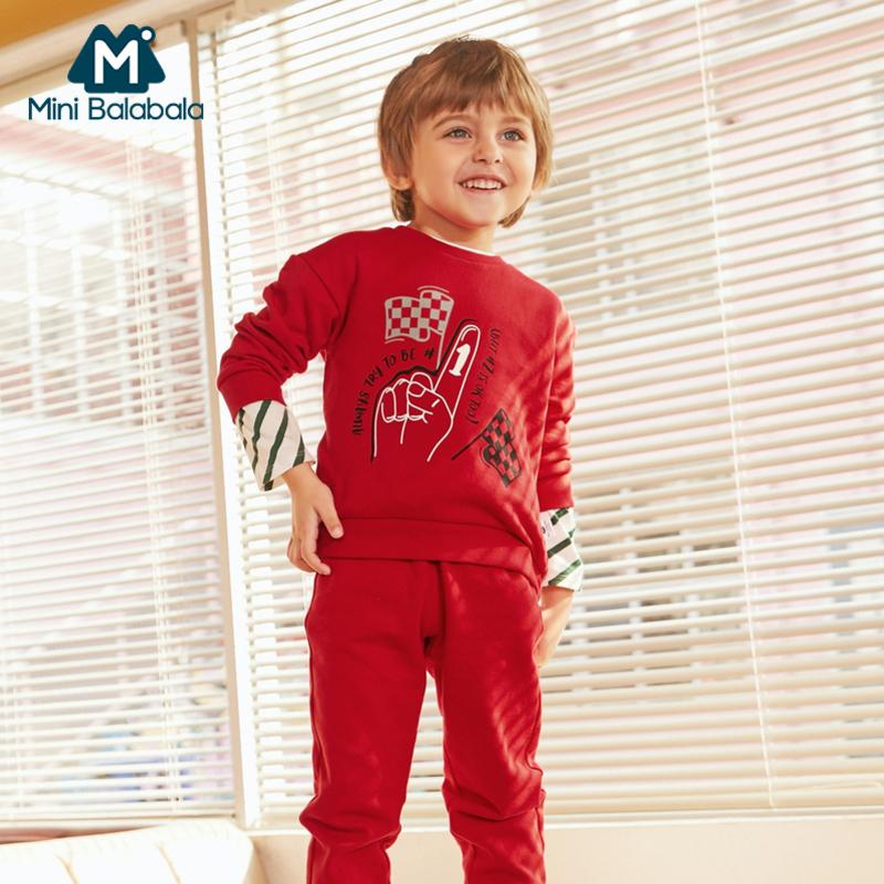 迷你巴拉巴拉男童运动套装2019春装新款宝宝卡通卫衣裤子两件套