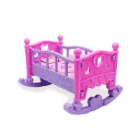 娃娃玩具床儿童女孩公主娃娃房睡床仿逼真婴儿床过家家摇篮塑料床 单个单层摇床 送枕头被子