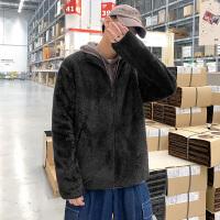 男士秋季薄款双面绒夹克外套港风超宽松潮流柔软贴身上衣帅运动装