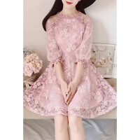 韩版新款淑雅蕾丝立体花朵七分袖修身显瘦公主大裙摆连衣裙女