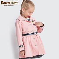 【1件6折 3件4.5折到手价:449】Pawinpaw卡通小熊童装女童单排扣风衣系腰带上衣中长款外套