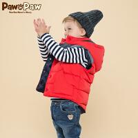 【1件3折 2件2.5折到手价:225】Pawinpaw宝英宝卡通小熊童装冬季款男童连帽马甲