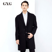 GXG毛呢大衣男装 冬季男士时尚黑色气质都市长款修身羊毛呢大衣