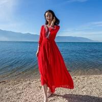 维绯 红色沙滩裙 波西米亚海边度假连衣裙 V领长裙子修身显瘦 红色 收藏送沙滩巾