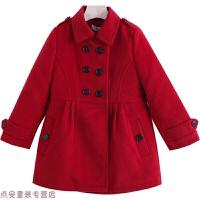 冬季女童毛呢外套夹棉中长款秋冬新款中大童修身保暖洋气羊毛呢子大衣秋冬新款 暗
